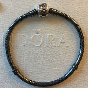 "Pandora Oxidized Silver Charm Bracelet 6.7"""
